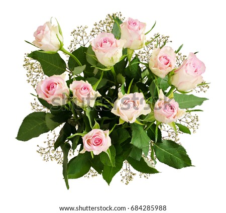 Beautiful white roses and gypsophila flowers bouquet isolated on beautiful white roses and gypsophila flowers bouquet isolated on white top view mightylinksfo