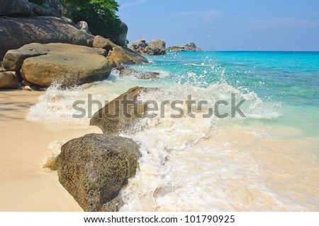 beautiful white sand and blue sky at similan island, south of thailand, Asia #101790925