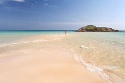 beautiful white sand beach with clear turquoise sea, Sardinia Chia Su Giudeu