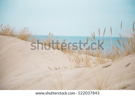 Beautiful white sand dunes at the sea beach