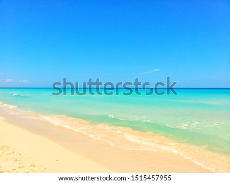 Beautiful white sand turquoise beach with blue sky sunny vacation Panoramic ocean pictures Cool background Nature Picture Tropical crystal clear blue water paradise holiday in Varadero, Cuba Atlantic