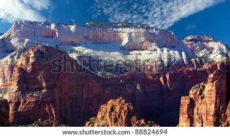 Beautiful white sandstone cliffs at Zion National Park