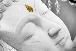 beautiful white sleeping at peace Buddha face.