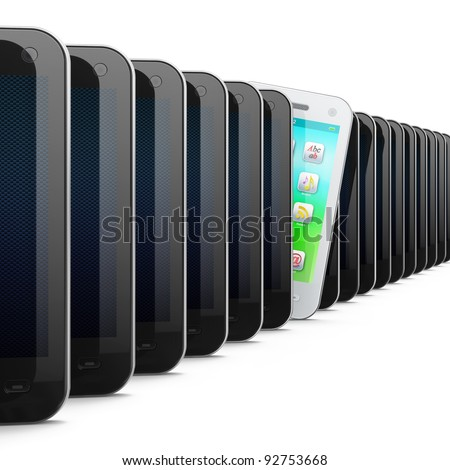 Beautiful white smartphone in row of black phones, 3d render. Smart phone isolated on white