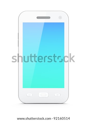 Beautiful white smartphone on white background, 3d render. Smart phone isolated on white, beautiful touch pad screen