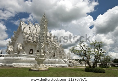 Beautiful white temple in Thailand