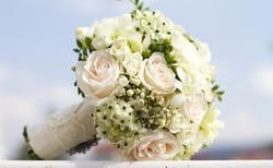 Beautiful white wedding bouquet