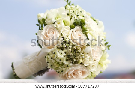 Beautiful white wedding bouquet
