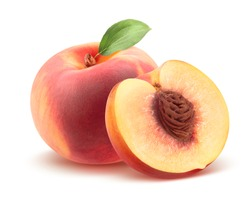 Beautiful whole peach and split isolated on white background as package design element