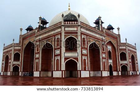 Beautiful Wide Shot of Humayun Tomb #733813894
