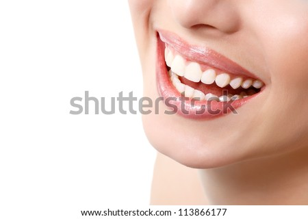 Beautiful wide smile of young fresh woman with great healthy white teeth. Isolated over white background - stock photo