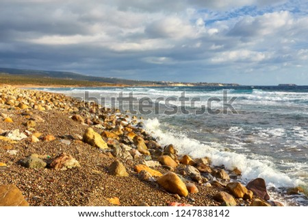 Beautiful wild beach with clear turquoise water and waves. Lara beach, Cyprus. #1247838142