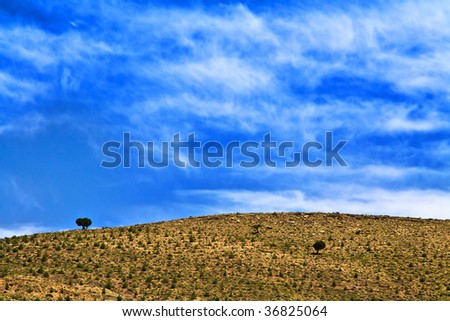 beautiful wild morrocan scenery with cloudy sky above