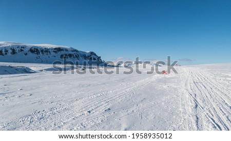 beautiful wild snowy winter landscape of Sarek national park in swedish lappland Stock foto ©