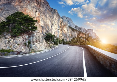beautiful winding mountain road ...
