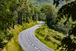 Beautiful winding road in the mountains curve of the road