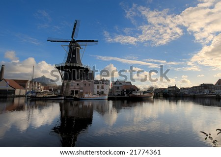 beautiful windmill  in Haarlem the netherlands