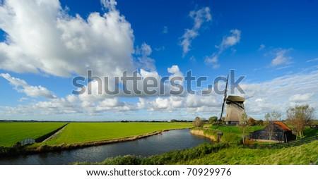 beautiful windmill landscape in the Netherlands, Schermerhorn, Schermer, Noord-Holland