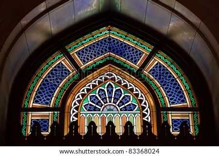 Beautiful window in Grand Mosque of Muscat, Oman