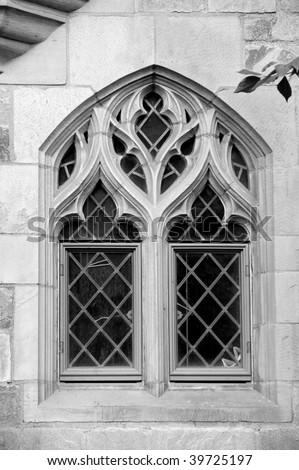 Beautiful window on facade of Davenport college, Yale