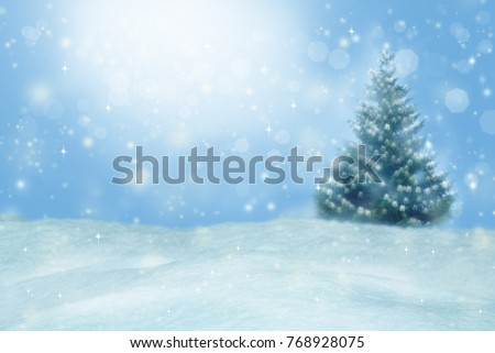 Beautiful winter background. Blurred winter landscape with bokeh. #768928075