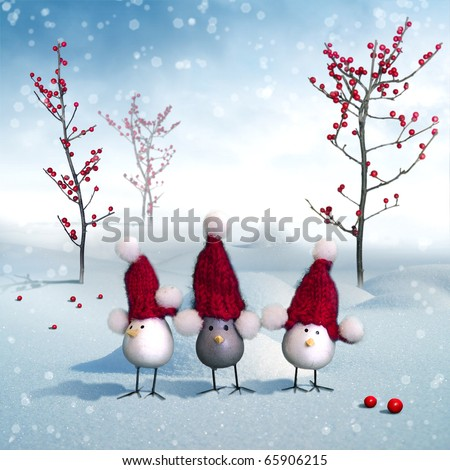 Beautiful winter Card-Poster with Birds Trio and Berry-Trees