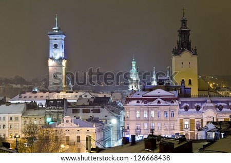 Beautiful winter cityscape in the center of Lvov city from height at the night