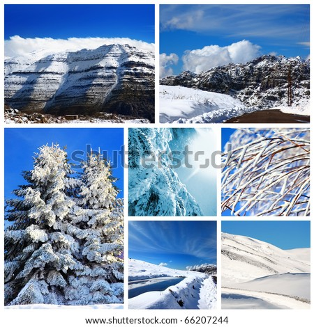 Beautiful winter collage, collection of cold weather landscapes with mountains & trees covered with snow over blue sky