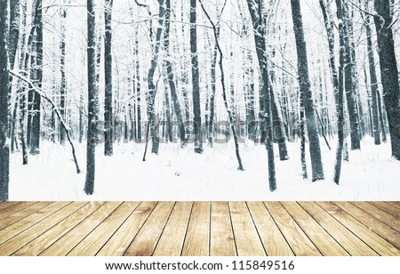 Beautiful winter forest with wood planks floor