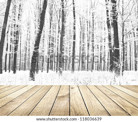 Beautiful winter forest with wood planks floor - stock photo