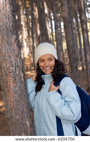 beautiful winter girl in blue jacket