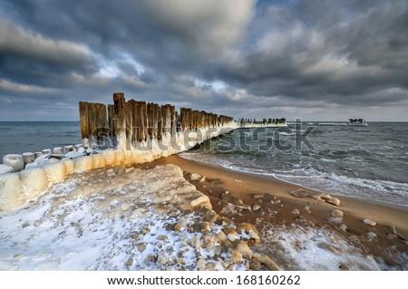 Beautiful winter landscape, and Sea