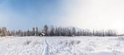 beautiful winter landscape and village at countryside, jakutia