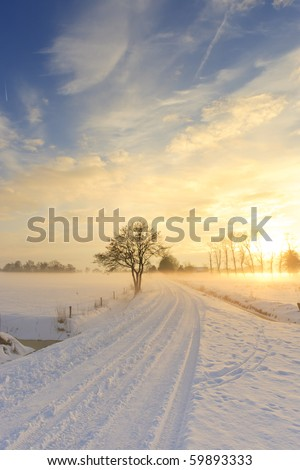 Beautiful winter landscape at sunset with fog and snow