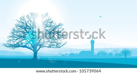beautiful winter landscape illustration of a silhouetted village with a large tree in the foreground.