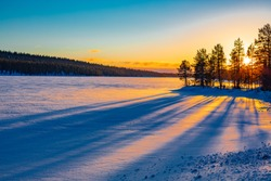 Beautiful winter landscape in Lapland, north of the Arctic Circle, January, Finland