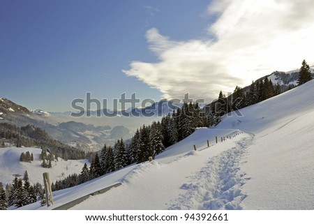 Beautiful Winter landscape in the Bavarian Alps - stock photo