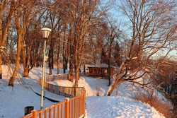 Beautiful winter landscape in the city park at sunset. Tall trees with a spreading crown. The branches and ground are covered with snow. White lantern, wooden fence and gazebo. Sunlight. Fresh air.