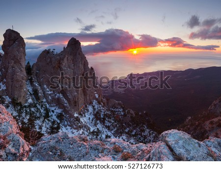 Beautiful winter landscape in the mountains sunrise #527126773