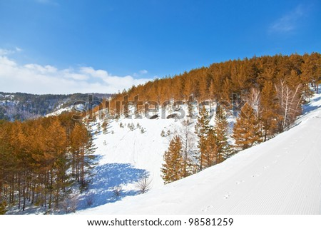 Beautiful winter landscape in the mountains. The nature of Russia.