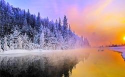Beautiful winter landscape nature snow forrest scene at sunrise outdoor backgrounds