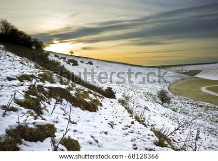 Beautiful Winter landscape over countryside