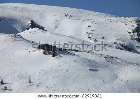 Beautiful winter landscape with snow and rocks