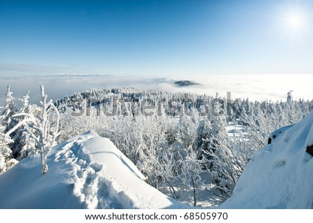 Beautiful winter mountain panorama