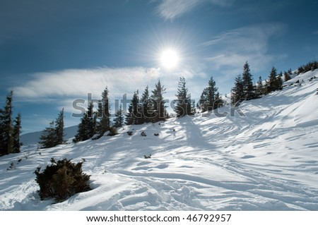 Beautiful winter mountainous landscape