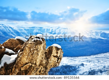 Beautiful winter mountains landscape, bright sunrise in cold weather, beauty of nature, seasonal travel background