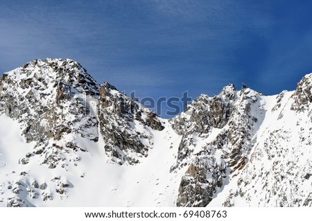 Beautiful winter mountains. Scenic view of Austrian Alps