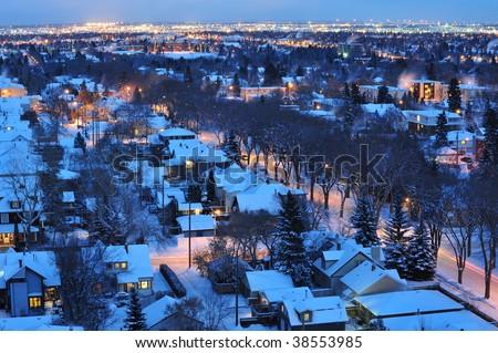 stock photo : Beautiful winter night scene of the city edmonton, alberta, canada