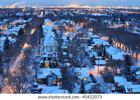 Stock Photo Beautiful winter night scene of the city edmonton, alberta, canada