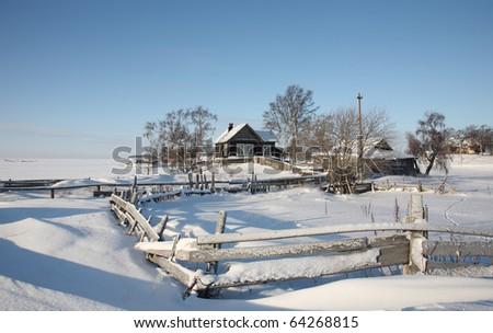 Beautiful winter rural landscape. Solar weather.